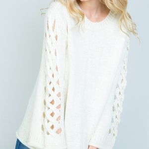 Fuzzy White Sweater Lace up hollow out sleeves